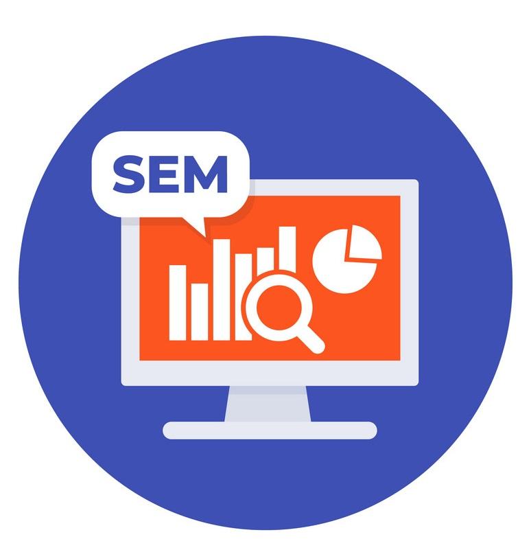 SEM, search engine marketing vector illustration