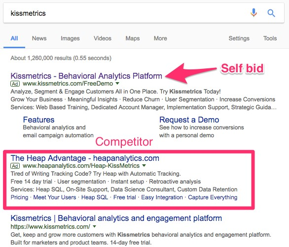 Optimizing your Google PPC Ad Copy for Higher CTRs kissmetrics search 1