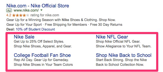 Optimizing your Google PPC Ad Copy for Higher CTRs sidelinks 5