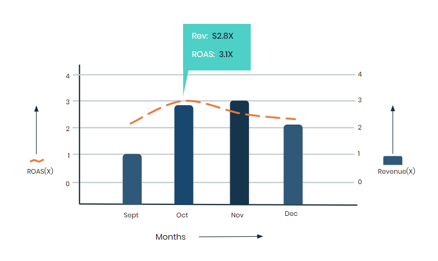 3x Revenue in 2 Months neemli revenue vs roas vs months 6